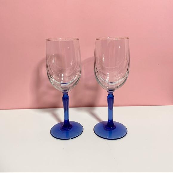 Vintage blue stem wine glasses